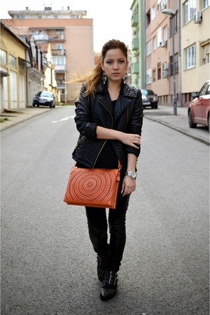 Tally Weijl boots - skinny jeans H&M jeans - c&a jacket - orange Parfois bag