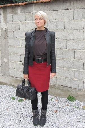 liu jo jacket - sam edelman boots - Michael Kors bag - liu jo belt - Zara skirt