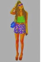navy Sarah Aghili shorts - teal neon cord skull Sarah Aghili bracelet