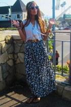 floral skirt vintage dior skirt - Sarah Aghili hat - reversable belt Hermes belt