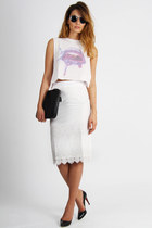 white evil twin top - silver Spitfire sunglasses - off white Alcoolique skirt