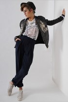black Three Floor jacket - white I hate u t-shirt - navy Three Floor pants