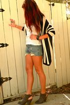 black H&M cardigan - gray Nine West shoes - blue Levis shorts