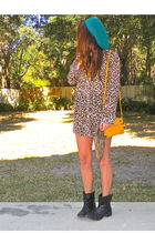 black victoriassecretcom boots - beige H&M shirt - blue UO hat - gold Marc by Ma