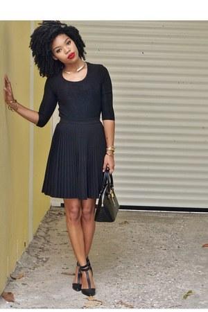 black Michael Kors skirt - black Aldo bag - black Topshop blouse