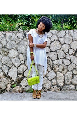 white Michael Kors watch - Forever 21 jeans - neon yellow GoJane bag