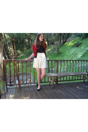 black Payless flats - vintage cardigan - cream thrifted skirt