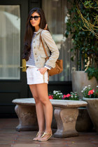 light brown leather Sole Society bag - white Michael Stars shorts