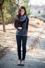 Black-leather-michael-stars-jacket-charcoal-gray-wool-michael-stars-scarf