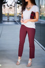 Plaid-sole-society-bag-maroon-burgundy-loft-pants