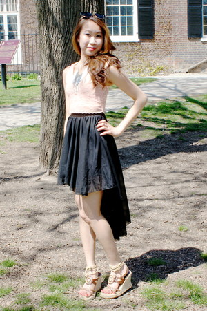 black spoof skirt - peach crop top Urban Behaviour top