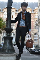 black Comme des Garcons blazer - light blue printed monoprix shirt