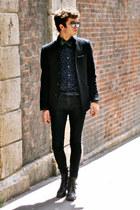 fashopscom jacket - balenciaga shirt - Louis Vuitton bracelet - vintage tie