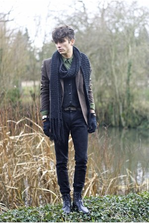 black surface to air boots - camel tweed H&M blazer