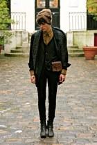 black Yohji Yamamoto blazer - bronze mohair Dries Van Noten hat
