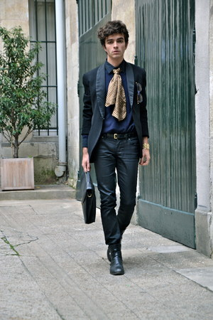 mustard vintage tie tie - black waxed LTB jeans
