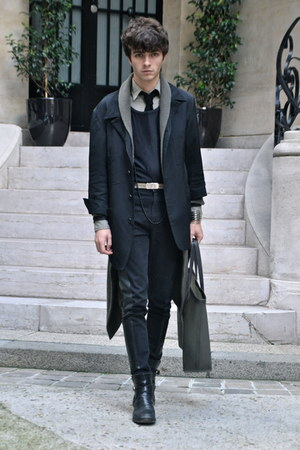 black Yohji Yamamoto jacket - dark khaki Zara shirt