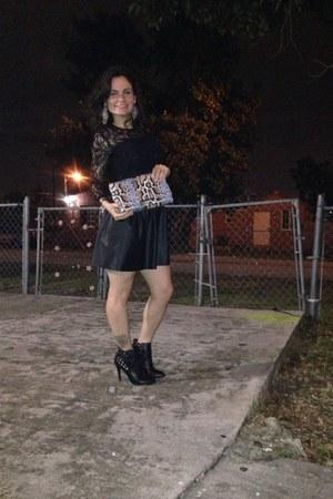 black Kelly and Katie boots - Pimkie dress - snake skin H&M bag