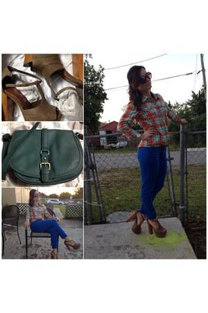 southpole blue jeans - target merona bag - leopard sunglasses - taupe sandals
