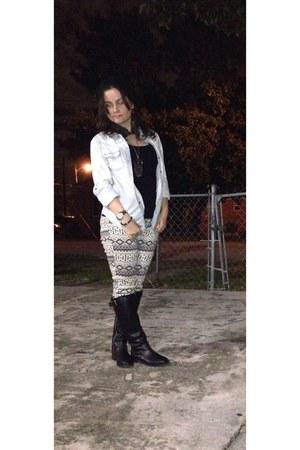 black pull&bear boots - Charlotte Russe jeans - arizona jeans shirt