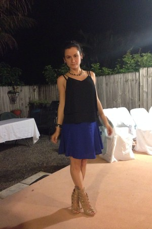 blue Forever 21 skirt - justfab nude shoes - DIY top