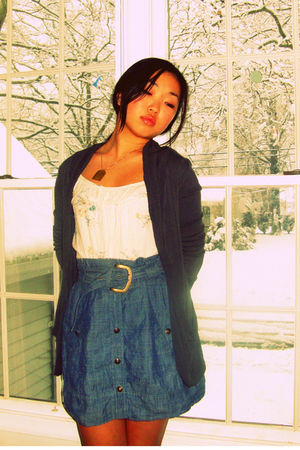 beige Heritage shirt - blue Urban Outfitters skirt - gray cardigan