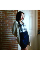 beige sweater - gray plaid shirt - blue my own design skirt