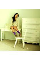 purple Betsey Johnson socks - beige NEAL by neal sperling sweater - black pins a