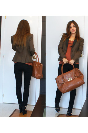 black Topshop jeans - dark brown Zara jacket - tawny Topshop shirt - black Zara