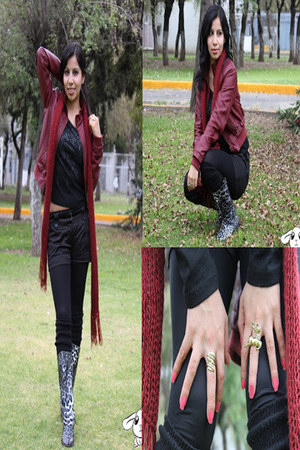 ruby red vinipiel Forever 21 jacket - gray rain boots Tienda local boots