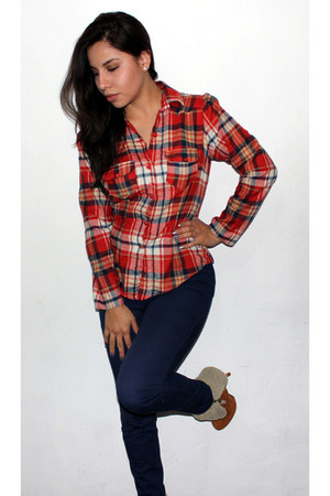 ruby red tartan Muuah blouse - tawny ante Qupid boots - navy H&M pants
