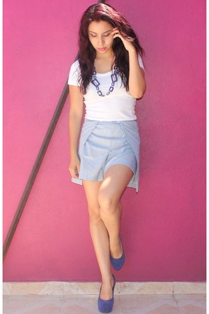 blue wrap DIY shorts - white basic Mossimo shirt - navy Blue pumps
