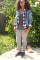 blue denim jacket - navy desert boots - heather gray jeans - white shirt