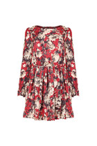 Red Silky Floral Printed Dress