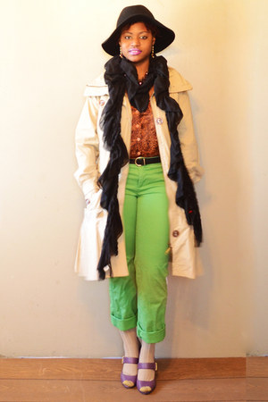 lime green pants - Michael Kors shoes - pleated khaki coat