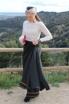black silk Sugar Lane skirt - Sugar Lane hat - ivory Mango shirt