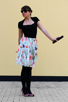 pink Zara shoes - black vintage purse - H&M skirt - black Zara top