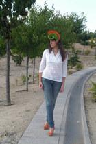 carrot orange Sugar Lane hat - navy Levis jeans - white Remanika shirt