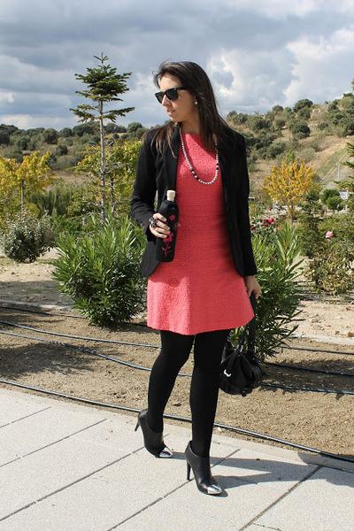 hot pink Flaska accessories - black Zara boots - hot pink Zara dress
