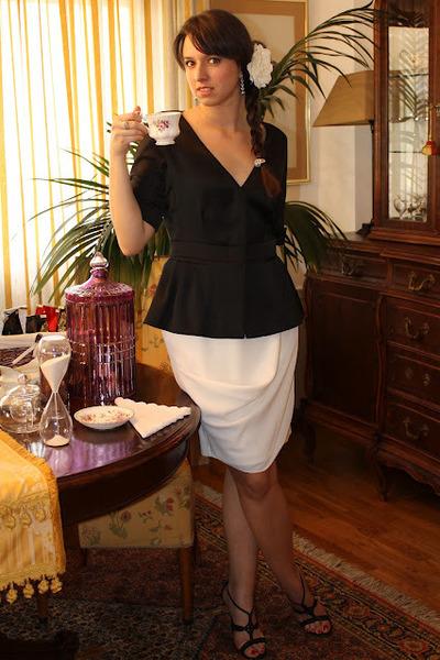 black Aldo sandals - black armani blazer - white armani skirt
