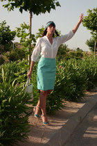 aquamarine leather vintage skirt - aquamarine silk Sugar Lane hat