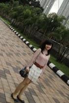 blue coach bag - white Color Box skirt - light pink Forever21 blouse