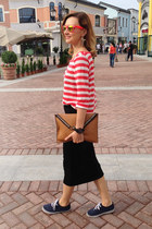 dark gray littlebig skirt - bronze marmalato bag - red littlebig sweatshirt