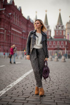 orange Zara boots - ivory Zara sweater - magenta balenciaga bag