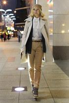 beige Elisabetta Franchi coat - beige oodji hat - camel Mulberry bag