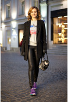 black Accessorize bag - silver Reebok sweatshirt - black Uniqlo pants