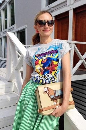 beige Lapalette bag - aquamarine Korean skirt
