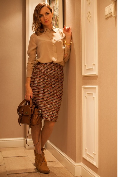 brown Koton skirt - mustard Zara boots - nude Calzedonia tights