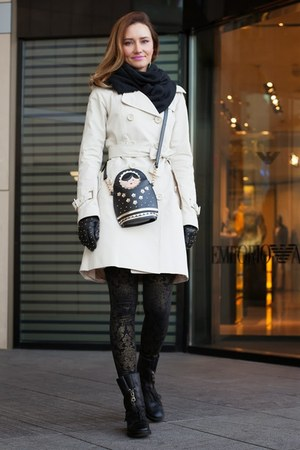 black Zara boots - ivory Celine coat - black Louis Vuitton scarf