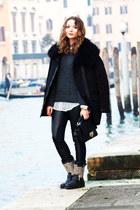 black studded ASH boots - black Maje jacket - gray wool Maje sweater